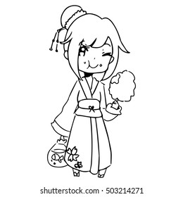 illustration vector hand drawn doodle of girl wearing traditional japanese clothing and eating candy.