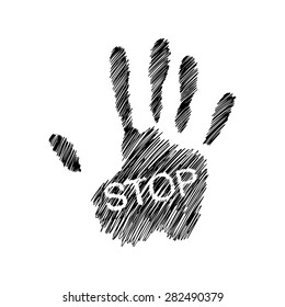 illustration vector hand drawn doodles of Hand raised with the word STOP, creative design.