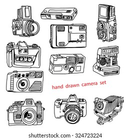illustration vector hand drawn doodles of many kinds of photo camera