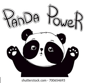 61e00770476d Illustration Vector. Hand Drawn Panda. Panda Power
