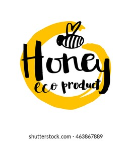 Illustration of vector hand drawn writing honey logo, label, badge in modern ink calligraphy style.