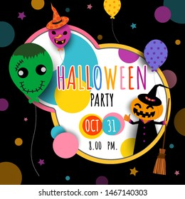 Illustration vector of Happy Halloween invitation card with pumpkin monster and  balloons