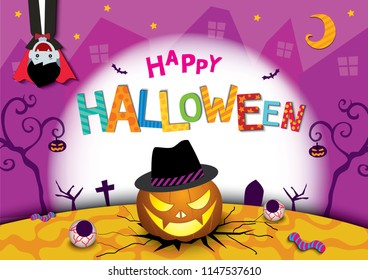 Illustration vector of Happy Halloween party design with lantern pumpkin, vampire and typography text on colorful background.