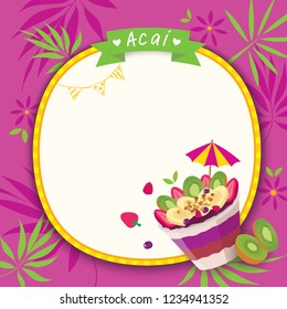 Illustration vector of Healthy acai food and fruits design with purple background.