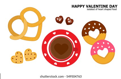 Illustration vector heart shaped food of pretzel, donuts, hot chocolate, cookies and bite size chocolate on white background.