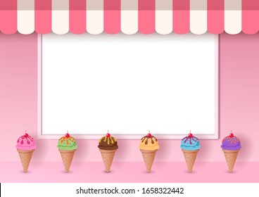 Illustration vector of Ice cream cone decorated on pink cafe with white frame board background on 3d style