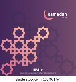 Illustration vector of Islamic design concept. Ramadan Kareem or Eid Mubarak greeting with abstract pattern or mandala element with ornament background suitable for invitation banner or card.