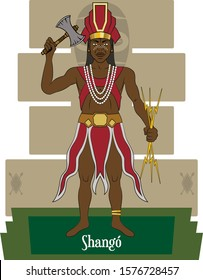 Illustration vector isolated of African Yoruba mythical god, Shangó, Ray, thunder and fire god.