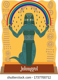 Illustration vector isolated of Australian Aboriginal mythical god, Julunggul, is a rainbow snake, She was a fertility goddess, associated with rebirth and the weather.