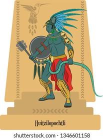 Illustration vector isolated of Aztec Mythical God Huitzilopochtli, God of Sun and War