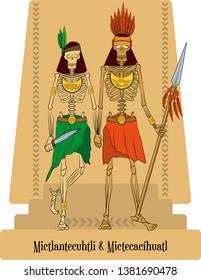 Illustration vector isolated of Aztec Mythical Gods Mictlantecuhtli y Mictecacíhuatl, Death and underworld god and goddess.