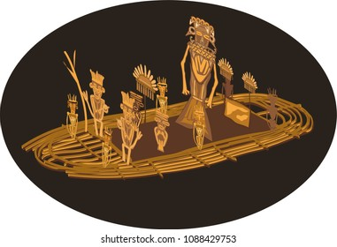 Illustration vector isolated of Balsa Muisca, indigenous gold sculpture, Colombia
