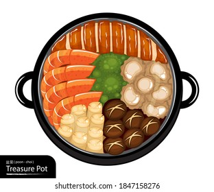 Illustration vector isolated big hot pot seafood on dinner lunar new year eve party or family reunion feast
