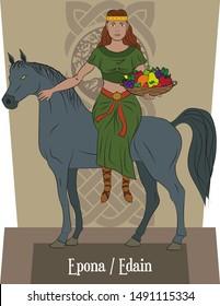 Illustration vector isolated of Celtic mythical goddess, Epona, Edain, nature goddess, fertility goddess, horse goddess