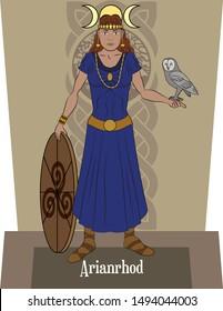Illustration vector isolated of Celtic mythical goddess, Arianrhod, Moon and stars Goddess, Reincarnation goddess.