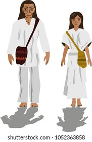 Illustration vector isolated of Cogui, Colombian native people indigenous