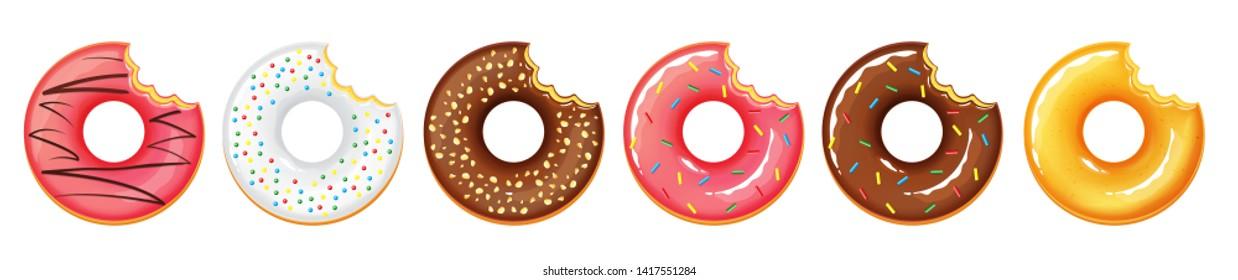 Illustration vector isolated dessert bite doughnut or donuts on white background
