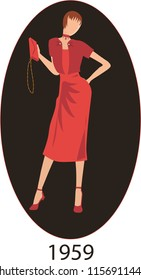 Illustration Vector isolated of fashion woman 1959 dress model