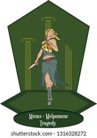 Illustration Vector Isolated of greek goddess, muses, Melpomene - Tragedy - Vector.