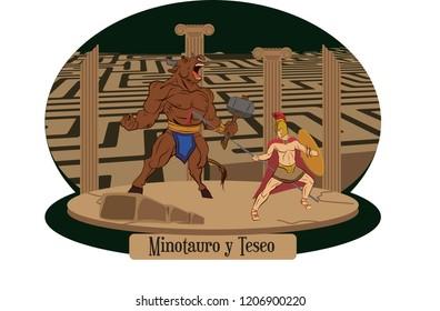 Illustration vector isolated of Greek Myths, Minotaur