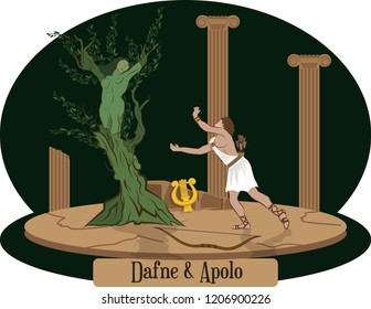 Illustration vector isolated of Greek Myths, Daphne y Apollo