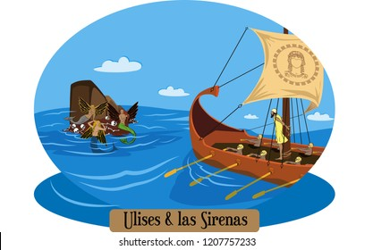 Illustration vector isolated of greek myths, Ulises, Odiseo, Odysseus.