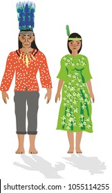 Illustration vector isolated of Guahibos, Colombian native people indigenous