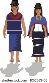 Illustration vector isolated of Guambianos, Colombian native people indigenous