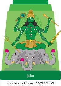 Illustration vector isolated of Hindu, Mythical God, Indra, King of gods, war god, storm god, ray god