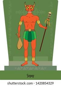 Illustration vector isolated of Inca, Mythical God Supay, death god, underworld god.