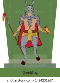 Illustration vector isolated of Inca, Mythical God Urcuchillay, animal protection