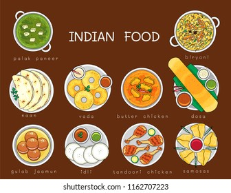 Illustration vector isolated Indian food dishes on table top view cartoon doodle style. Dinner,Lunch,Breakfast set served at restaurant or homemade. Masala dosa, vada,biryani,curry,butter chicken,naan