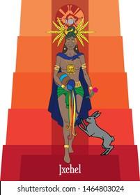 Illustration vector isolated of Mayan mythical god, Ixchel, Water goddess, moon goddess, love goddess, medicine goddess