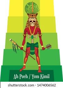 Illustration vector isolated of Mayan mythical god, Ah Punch, King of Xibalaba, Underworld god.