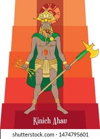 Illustration vector isolated of Mayan mythical god, Kinich Ahau, Sun god or God of war