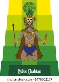 Illustration vector isolated of Mayan mythical god, Buluc Chabtan, War god, death god.