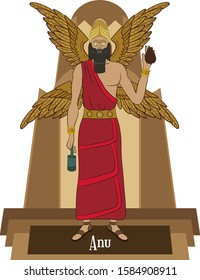 Illustration vector isolated of Mesopotamian mythical god, Anu, Sky god, king of gods