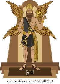 Illustration vector isolated of Mesopotamian mythical god, Enlil, wind and storm god