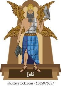 Illustration vector isolated of Mesopotamian mythical god, Enki, earth and water god,