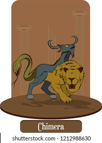 Illustration vector isolated of mythical creature, Chimera