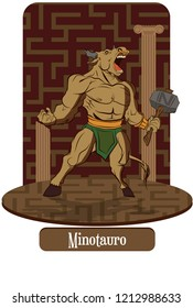 Illustration vector isolated of mythical creature, Minotaur