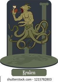 Illustration vector isolated of mythical creature, Kraken