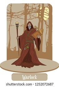 Illustration vector isolated of Mythical creatures, Warlock, Hechicero