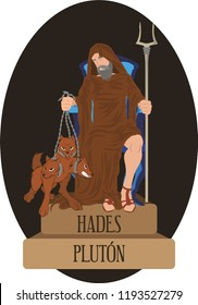 illustration vector isolated of mythological God Greek and Roman, Hades, Pluton.
