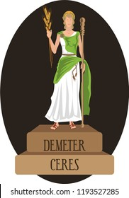 illustration vector isolated of mythological God Greek and Roman, Demeter, Ceres.
