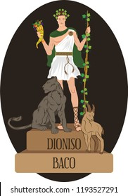 illustration vector isolated of mythological God Greek and Roman, Dioniso, Baco.