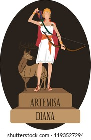 illustration vector isolated of mythological God Greek and Roman, Artemisa, Diana.