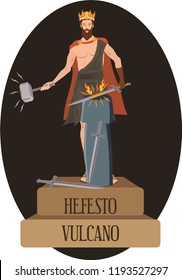 illustration vector isolated of mythological God Greek and Roman, Hefesto, Vulcano.