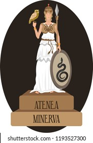 illustration vector isolated of mythological God Greek and Roman, Athena, Minerva.