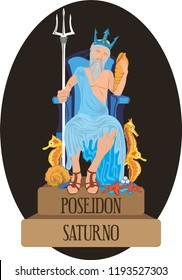 illustration vector isolated of mythological God Greek and Roman, Poseidon, Saturno.